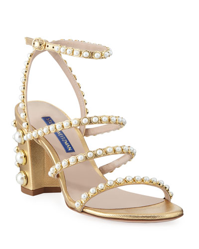 f52266741443 Peridot Pearly Embellished Sandals Gold Quick Look. Stuart Weitzman