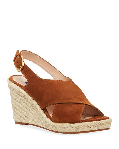 Stuart Weitzman Paris Suede Slingback Wedge Espadrilles In Light Brown