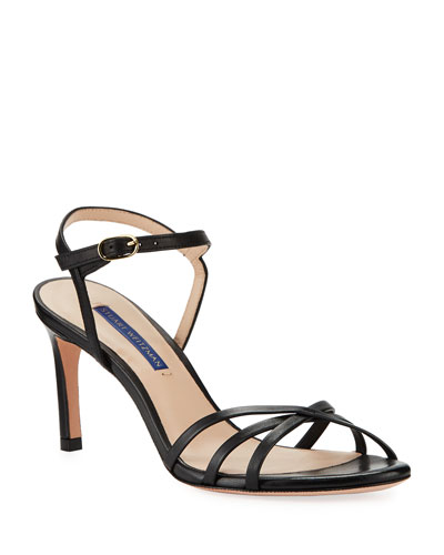 Starla Leather Ankle-Wrap Sandals
