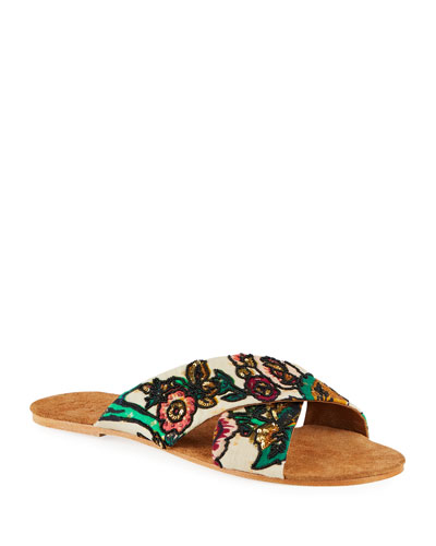 Nilu Floral Beaded Slide Sandals
