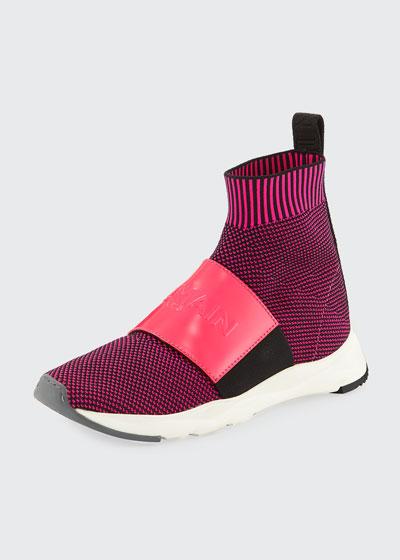 Cameron Knit Logo-Strap Running Sock Sneakers