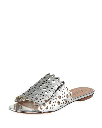 Laser-Cut Flat Slide Sandals