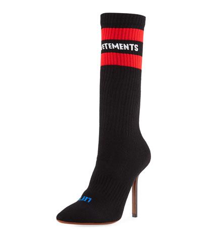 Stretch-Sock Logo Tall Booties
