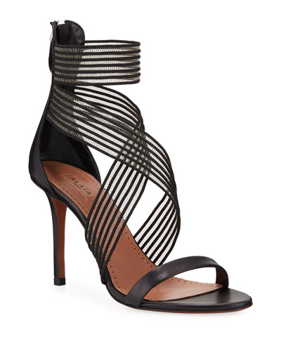 a98b3dfab162 Elastic-Strap High-Heel Leather Sandals Quick Look. ALAIA