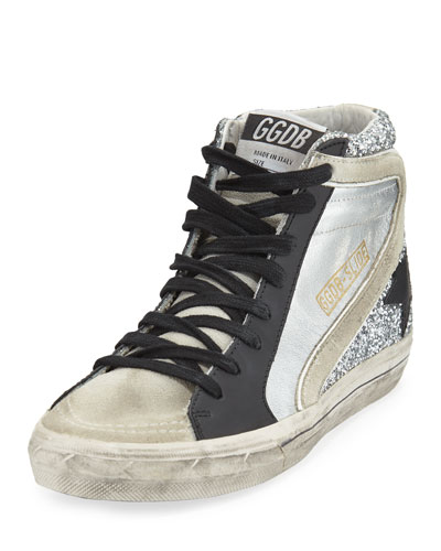Slide Mixed High-Top Sneakers