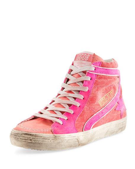 860bf4032ee6 Golden Goose Slide Canvas High-Top Sneakers