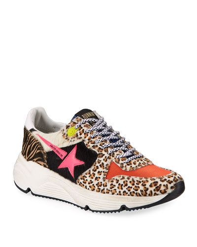 Running Mixed-Print Calf Hair Trainer Sneakers