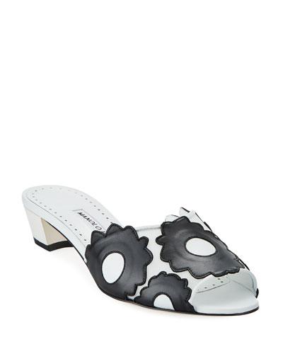 Lottara 30mm Slide Sandals with Flowers