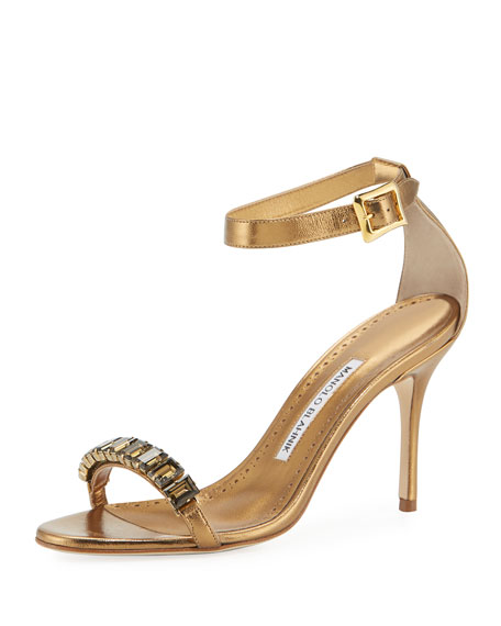 5282f2044 Manolo Blahnik Jeweled Metallic Leather Sandals