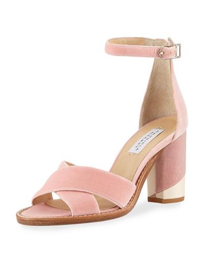 John Velvet Block-Heel d'Orsay Sandals
