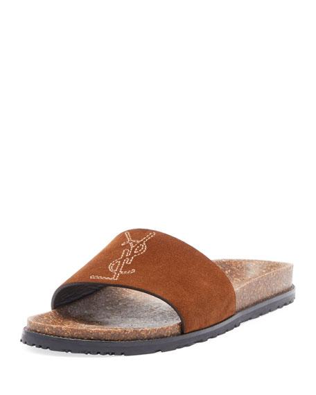 Saint Laurent Joan Noe Flat Suede Slide Sandals