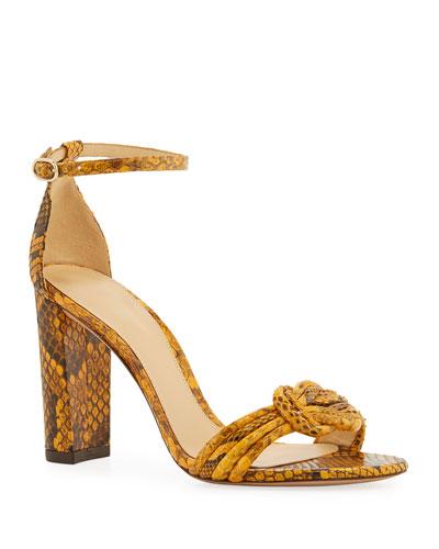 Chiara Python Block-Heel Sandal