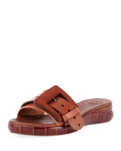 Willy Leather Buckle Slide Sandals