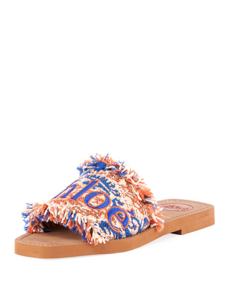 Chloe Woody Flat Fringed Slide Sandals