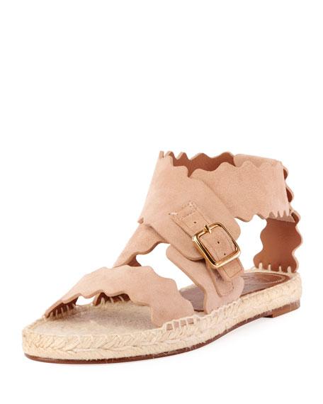 Chloe Lauren Flat Suede Wrap Sandals