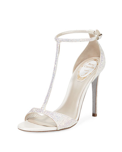T-Strap Crystal Sandals