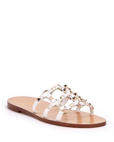 11218a615 Rockstud Flat Slide Sandals Quick Look. Valentino Garavani