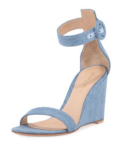Portofino Denim Wedge 85mm Sandals