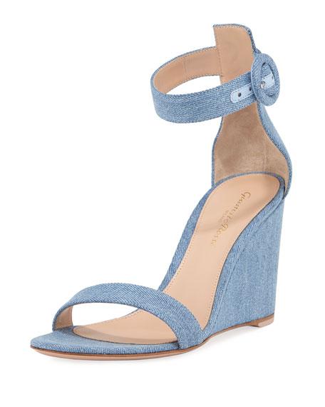 Gianvito Rossi Portofino Denim Wedge 85mm Sandals