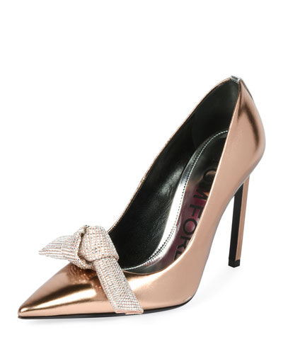 Mirrored Metallic Pumps with Crystal Bow