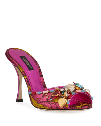Jeweled Brocade Mule Sandals