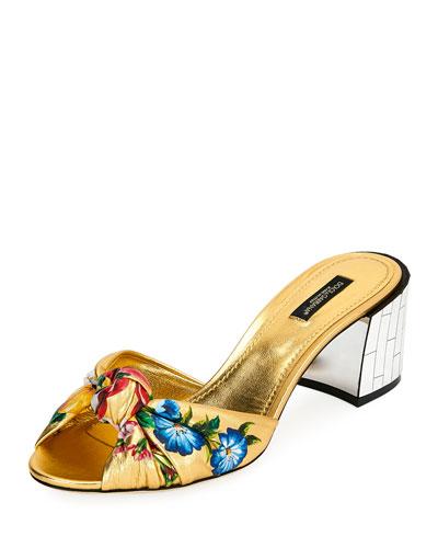 Floral-Print Metallic Sandals