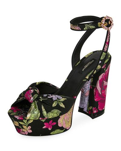 Floral-Jacquard Platform Sandals