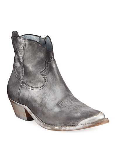 Young Metallic Leather Ankle Boots
