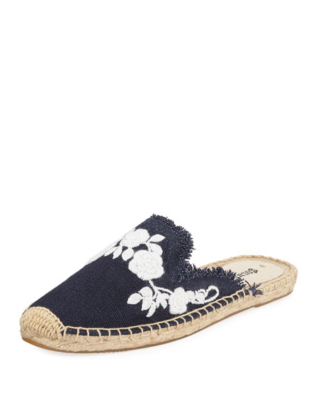 Frayed Floral Espadrille Mules