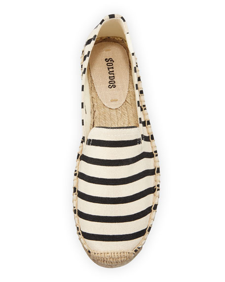 Classic Striped Canvas Espadrille Smoking Slippers