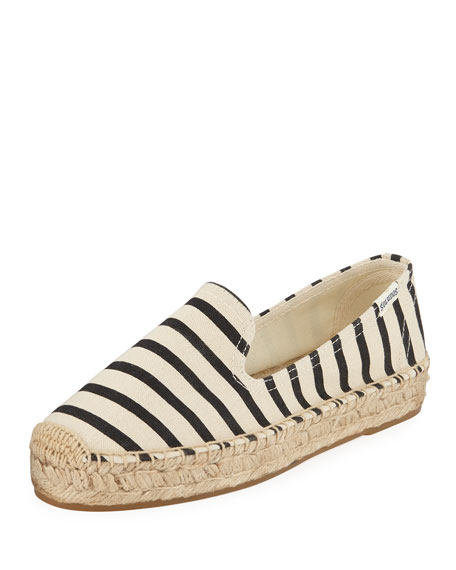 Image 1 of 1: Classic Striped Canvas Espadrille Smoking Slippers