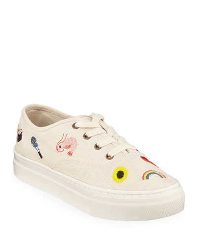 Porto Embroidered Linen Lace-Up Sneakers