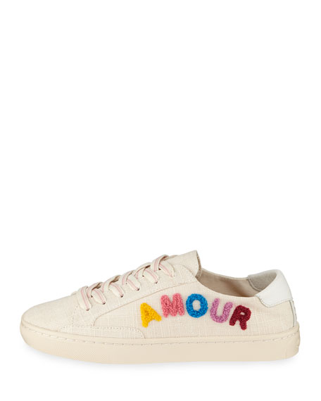 Amour Ibiza Embroidered Linen Sneakers