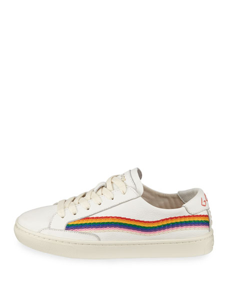 Shooting Start Embroidered Leather Sneakers