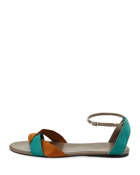 Colorblock Ribbons Flat Sandals