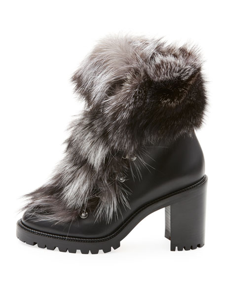 san francisco c112b 3c6a9 Fanny Calf Red Sole Booties with Fur Trim