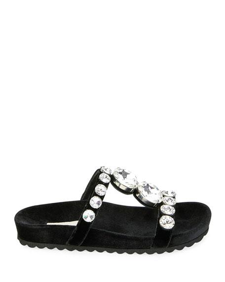 Jeweled Velvet Platform Sandals
