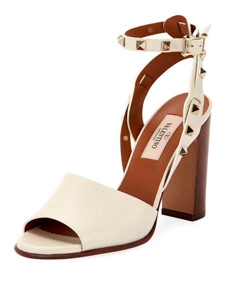 Valentino Garavani 100mm Rockstud Ankle-Wrap Sandals