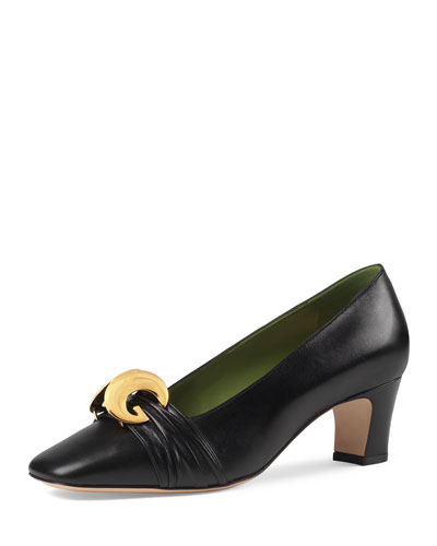 Usagi 55mm Leather Pumps  Black