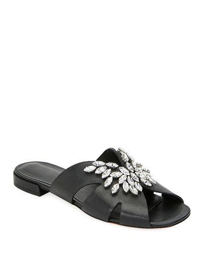 Rhinestone Embellished Flat Sandals