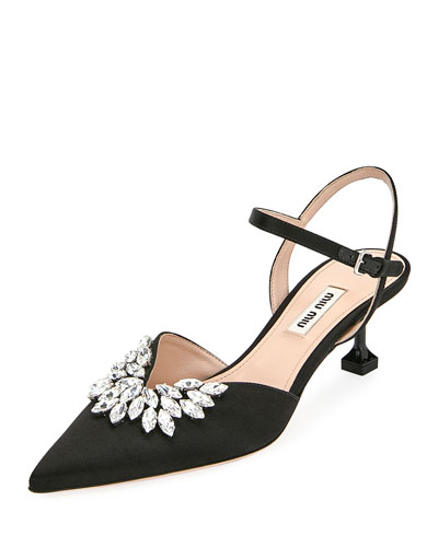 Embellished Satin Kitten-Heel Pumps