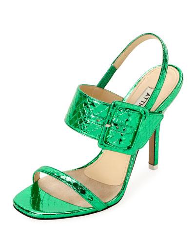 Mariah Snake-Print Buckle Sandals
