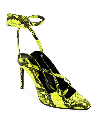 Warped Snake-Print Pumps