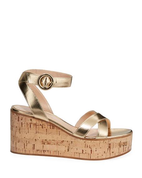 Metallic Cork-Platform Sandals