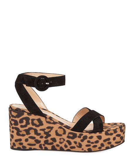 Leopard Satin Wedge Sandals