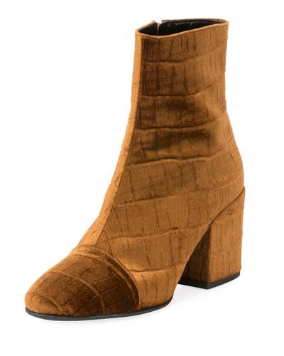 Embossed Velvet Ankle Booties