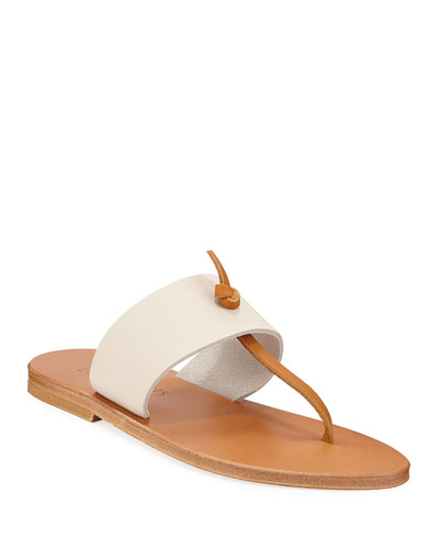 Shambala Flat T-Strap Leather Sandals