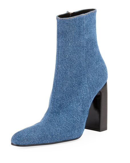 Denim Round-Toe Block-Heel Booties