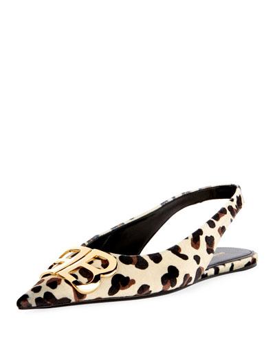 BB Knife Leopard Velvet Slingback Flat