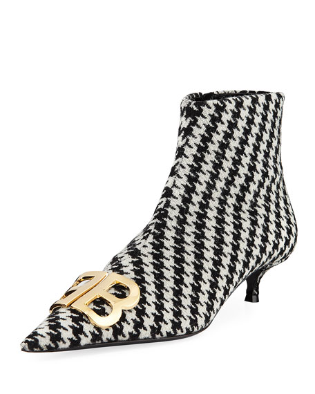 Balenciaga BB Logo Houndstooth-Flannel Booties